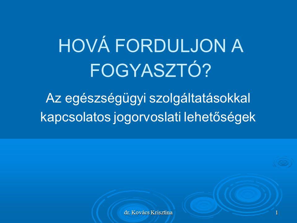dr. Kovács Krisztina 1 HOVÁ FORDULJON A FOGYASZTÓ.