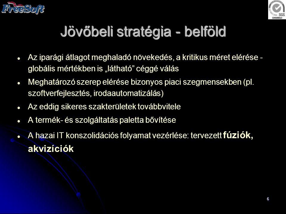"""7 Jövőbeli stratégia - külföld Meglévő alapok: migrációs tudás és referenciák; """"near-shore szolgáltatási képesség; eGovernment programcsomag (jó hazai referencia-bázis) Az akvizíciók során megszerzett termékek értékesítése Külföldi leányvállalatok létrehozása (2003 Németország, 2004 USA, …)"""