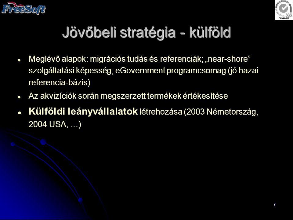 """7 Jövőbeli stratégia - külföld Meglévő alapok: migrációs tudás és referenciák; """"near-shore"""" szolgáltatási képesség; eGovernment programcsomag (jó haza"""