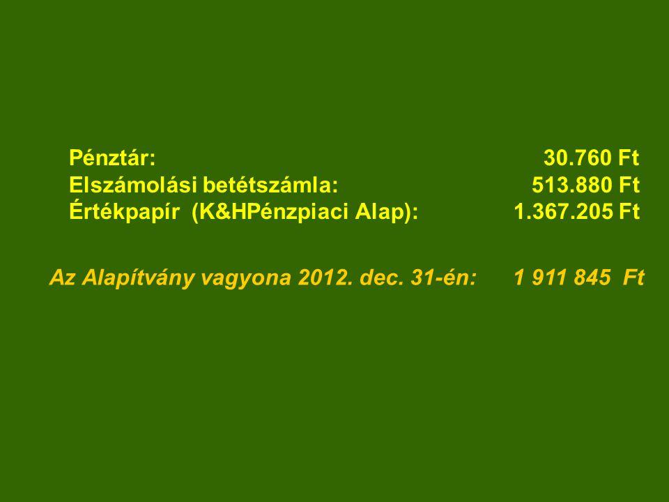 Az Alapítvány vagyona 2012.dec.