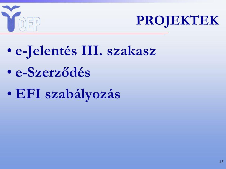PROJEKTEK e-Jelentés III. szakasz e-Szerződés EFI szabályozás 13
