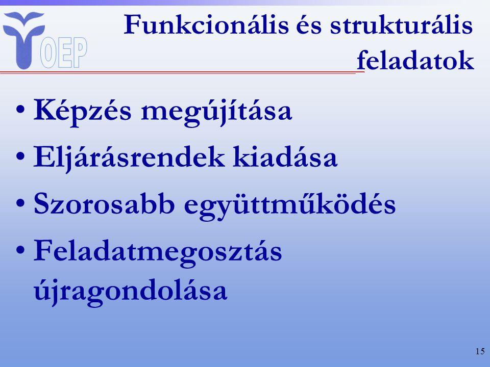 Funkcionális és strukturális feladatok Képzés megújítása Eljárásrendek kiadása Szorosabb együttműködés Feladatmegosztás újragondolása 15