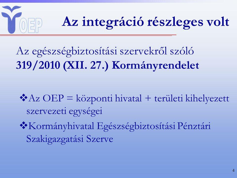 Az integráció részleges volt Az egészségbiztosítási szervekről szóló 319/2010 (XII.