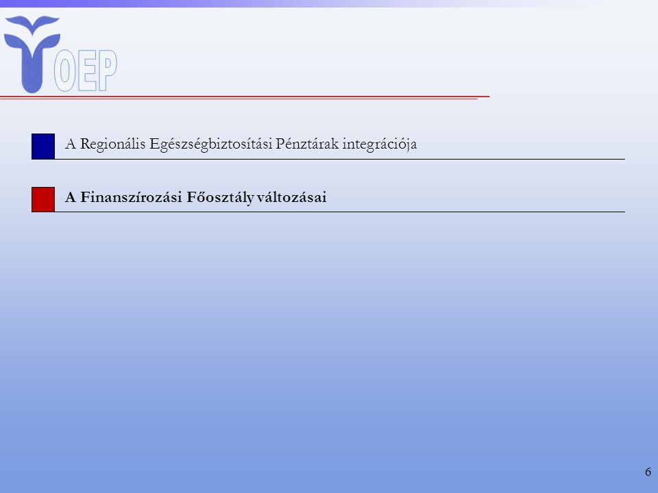 6 A Regionális Egészségbiztosítási Pénztárak integrációja A Finanszírozási Főosztály változásai