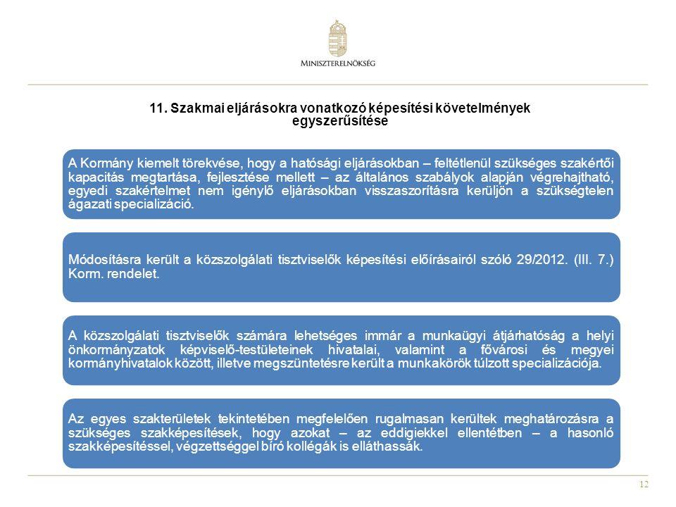 12 11. Szakmai eljárásokra vonatkozó képesítési követelmények egyszerűsítése A Kormány kiemelt törekvése, hogy a hatósági eljárásokban – feltétlenül s