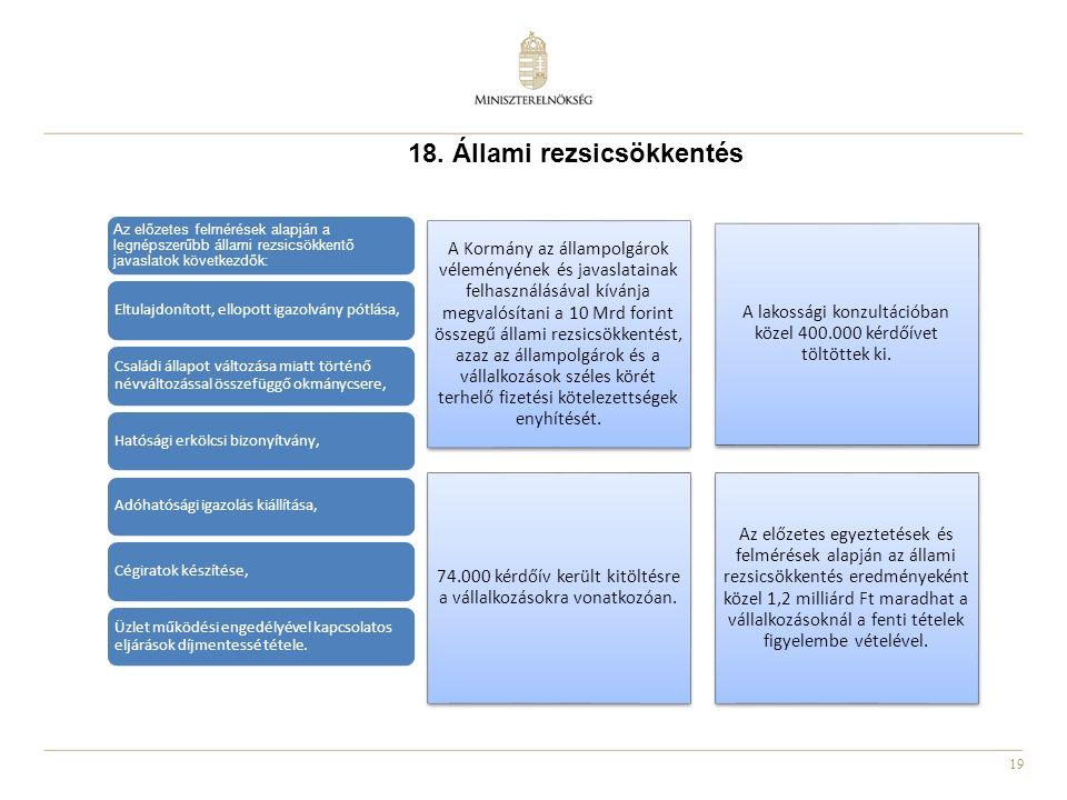 19 18. Állami rezsicsökkentés A Kormány az állampolgárok véleményének és javaslatainak felhasználásával kívánja megvalósítani a 10 Mrd forint összegű