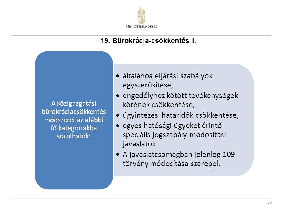 20 19. Bürokrácia-csökkentés I. általános eljárási szabályok egyszerűsítése, engedélyhez kötött tevékenységek körének csökkentése, ügyintézési határid