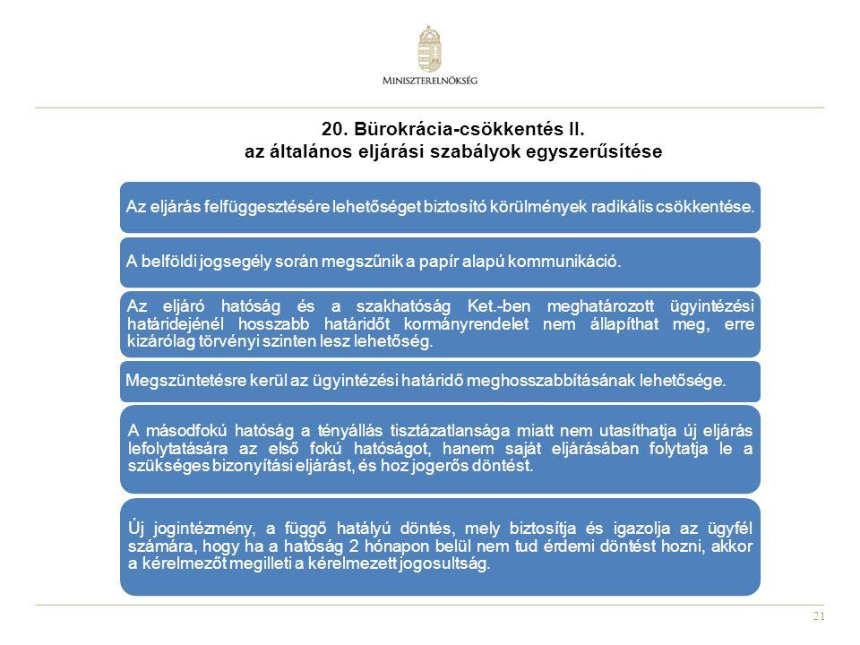 21 20. Bürokrácia-csökkentés II. az általános eljárási szabályok egyszerűsítése Az eljárás felfüggesztésére lehetőséget biztosító körülmények radikáli