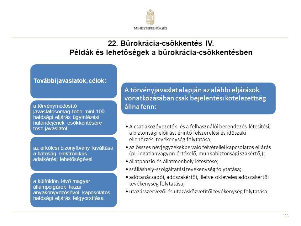23 22. Bürokrácia-csökkentés IV. Példák és lehetőségek a bürokrácia-csökkentésben A törvényjavaslat alapján az alábbi eljárások vonatkozásában csak be