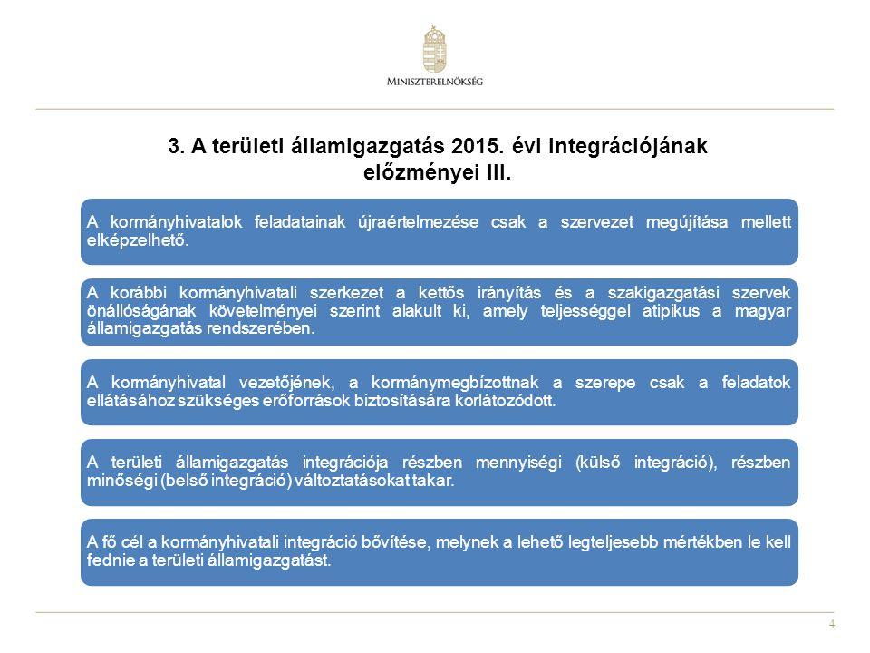 4 3. A területi államigazgatás 2015. évi integrációjának előzményei III. A kormányhivatalok feladatainak újraértelmezése csak a szervezet megújítása m