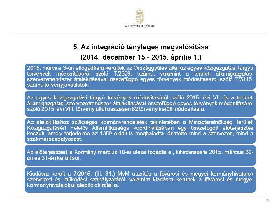 6 5. Az integráció tényleges megvalósítása (2014. december 15.- 2015. április 1.) 2015. március 3-án elfogadásra kerültek az Országgyűlés által az egy