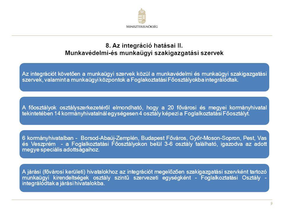 9 8. Az integráció hatásai II. Munkavédelmi-és munkaügyi szakigazgatási szervek Az integrációt követően a munkaügyi szervek közül a munkavédelmi és mu