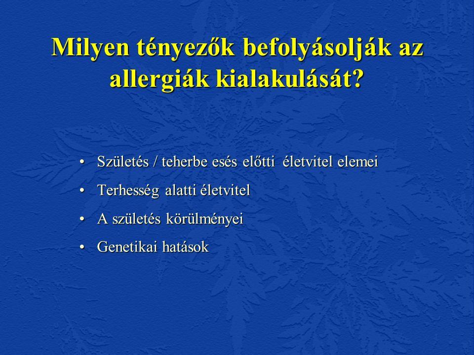 Allergiás betegségek előfordulása allergiások gyermekeiben (n=77) Nem szelektált populációban várt 77 főből : AB – 4 AR -12 CA – 8 Ételallergia – 5 beteg