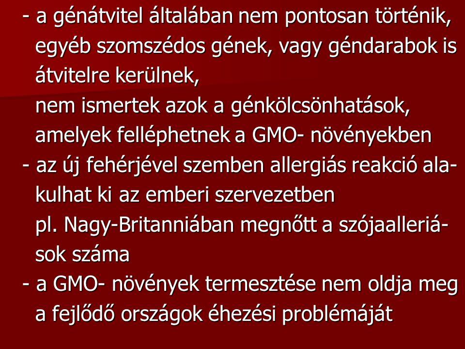- a génátvitel általában nem pontosan történik, egyéb szomszédos gének, vagy géndarabok is egyéb szomszédos gének, vagy géndarabok is átvitelre kerülnek, átvitelre kerülnek, nem ismertek azok a génkölcsönhatások, nem ismertek azok a génkölcsönhatások, amelyek felléphetnek a GMO- növényekben amelyek felléphetnek a GMO- növényekben - az új fehérjével szemben allergiás reakció ala- kulhat ki az emberi szervezetben kulhat ki az emberi szervezetben pl.