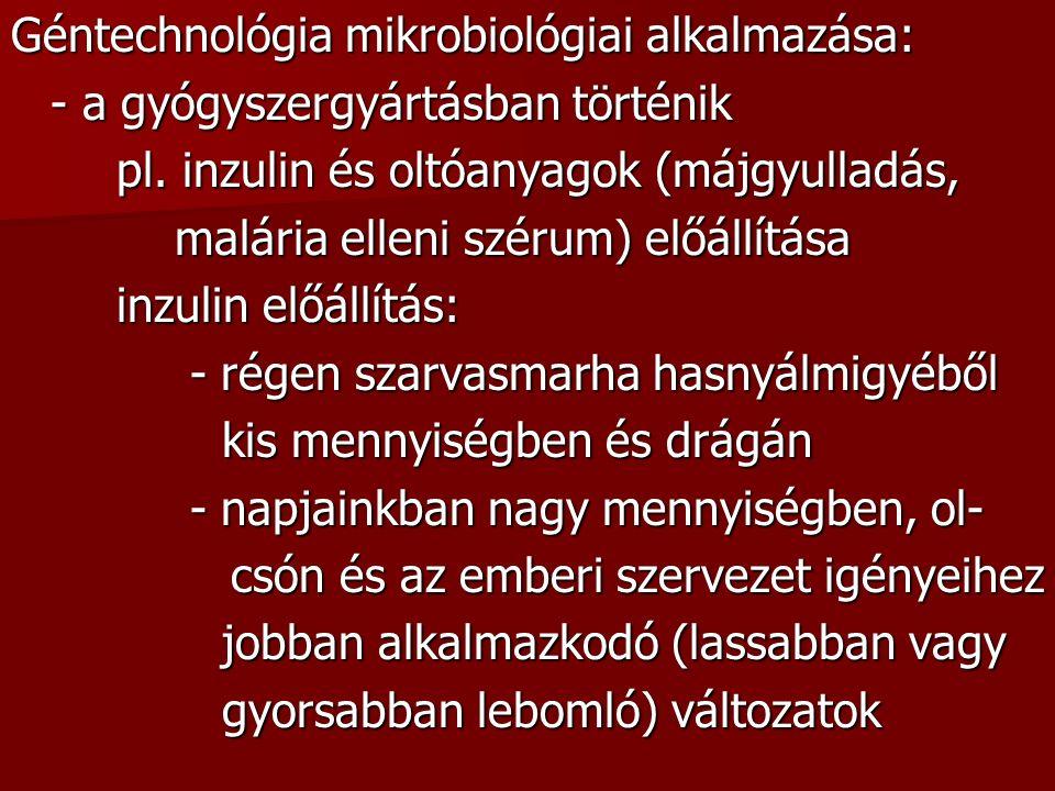 Géntechnológia mikrobiológiai alkalmazása: - a gyógyszergyártásban történik pl.