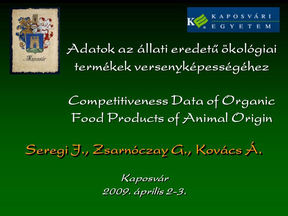 Adatok az állati eredetű ökológiai termékek versenyképességéhez Competitiveness Data of Organic Food Products of Animal Origin Seregi J., Zsarnóczay G