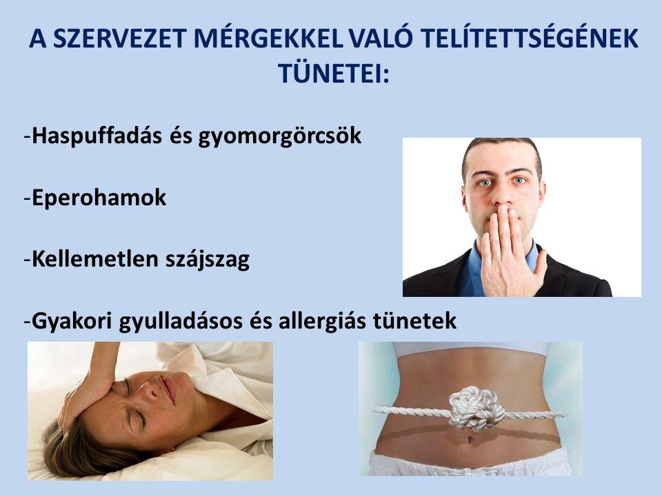 -Haspuffadás és gyomorgörcsök -Eperohamok -Kellemetlen szájszag -Gyakori gyulladásos és allergiás tünetek A SZERVEZET MÉRGEKKEL VALÓ TELÍTETTSÉGÉNEK TÜNETEI:
