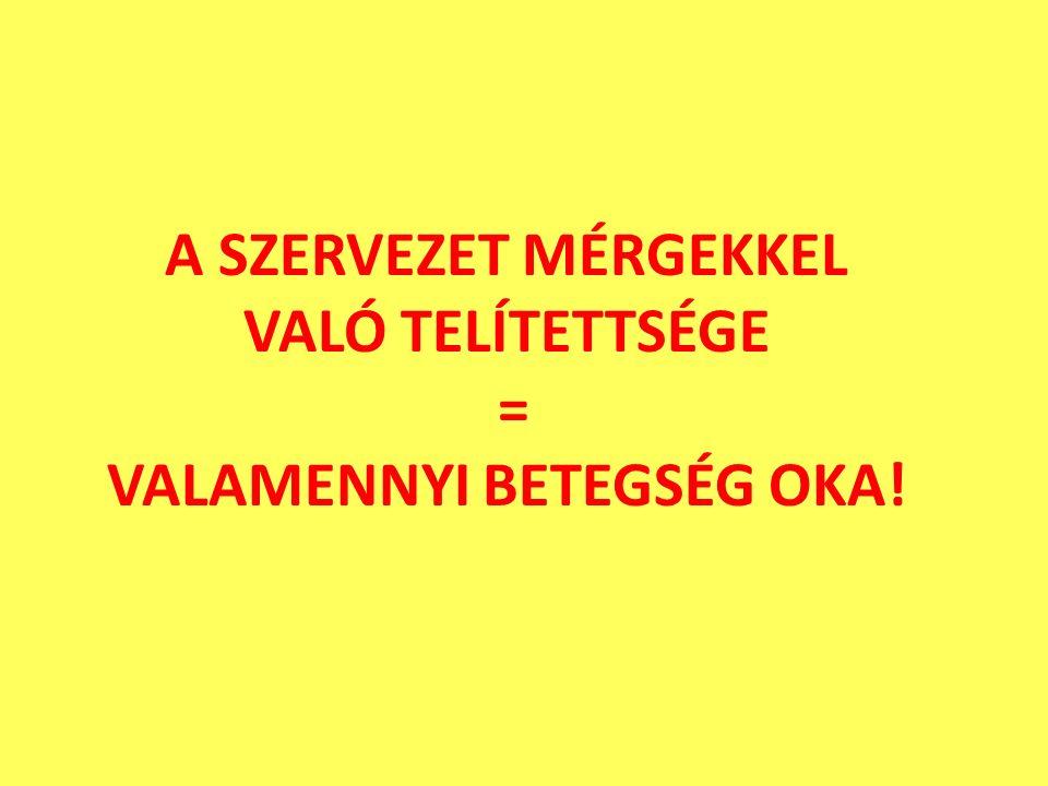 A SZERVEZET MÉRGEKKEL VALÓ TELÍTETTSÉGE = VALAMENNYI BETEGSÉG OKA!