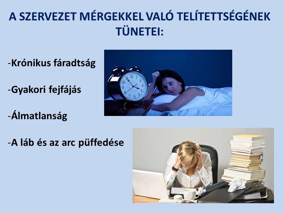 A SZERVEZET MÉRGEKKEL VALÓ TELÍTETTSÉGÉNEK TÜNETEI: -Krónikus fáradtság -Gyakori fejfájás -Álmatlanság -A láb és az arc püffedése