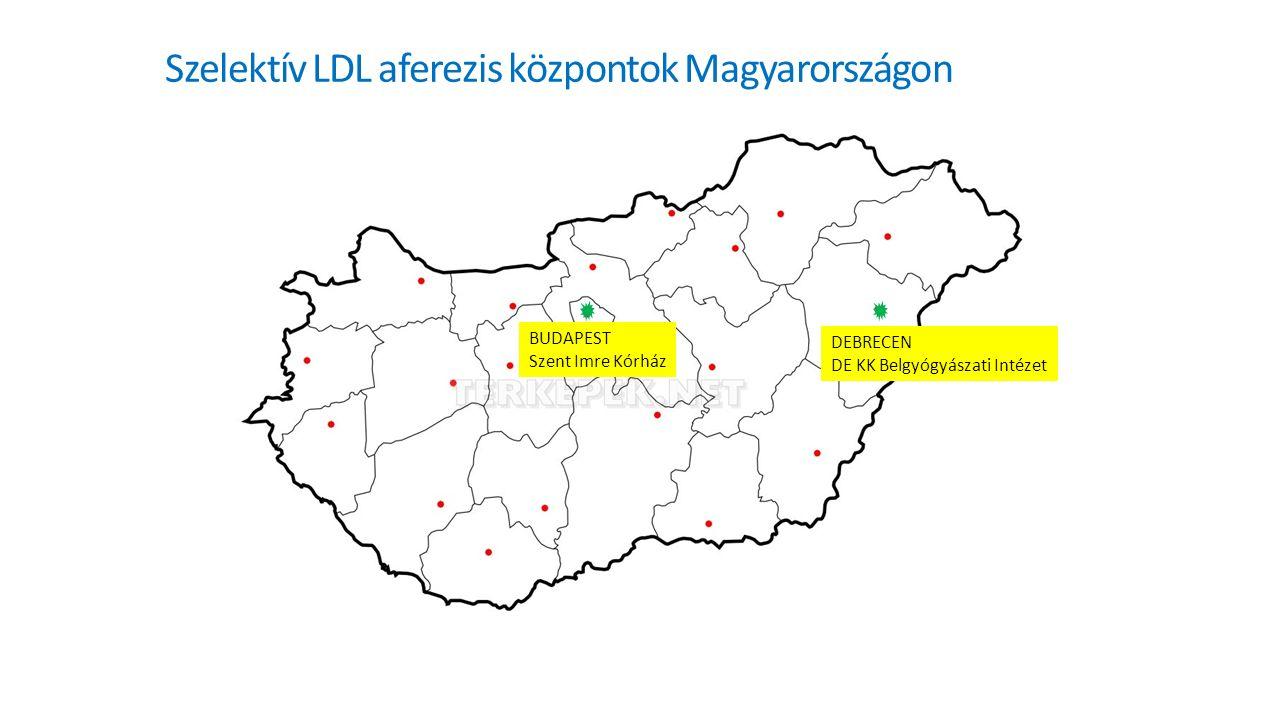 Szelektív LDL aferezis központok Magyarországon BUDAPEST Szent Imre Kórház DEBRECEN DE KK Belgyógyászati Intézet