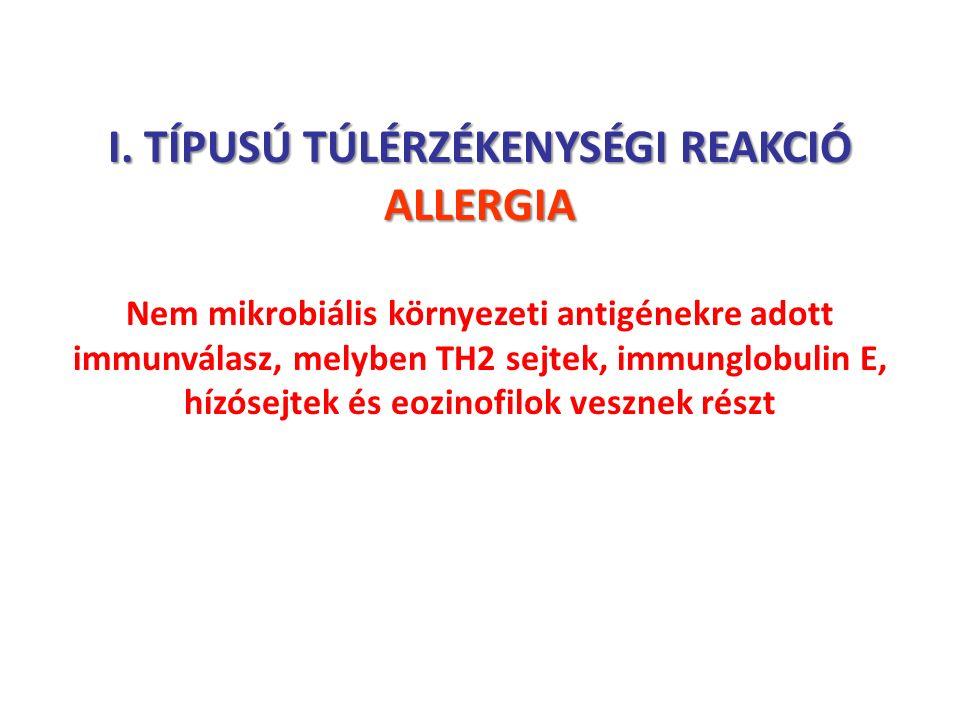 I. TÍPUSÚ TÚLÉRZÉKENYSÉGI REAKCIÓ ALLERGIA Nem mikrobiális környezeti antigénekre adott immunválasz, melyben TH2 sejtek, immunglobulin E, hízósejtek é