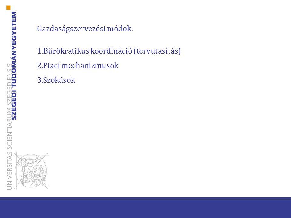 Gazdaságszervezési módok: 1.Bürökratikus koordináció (tervutasítás) 2.Piaci mechanizmusok 3.Szokások