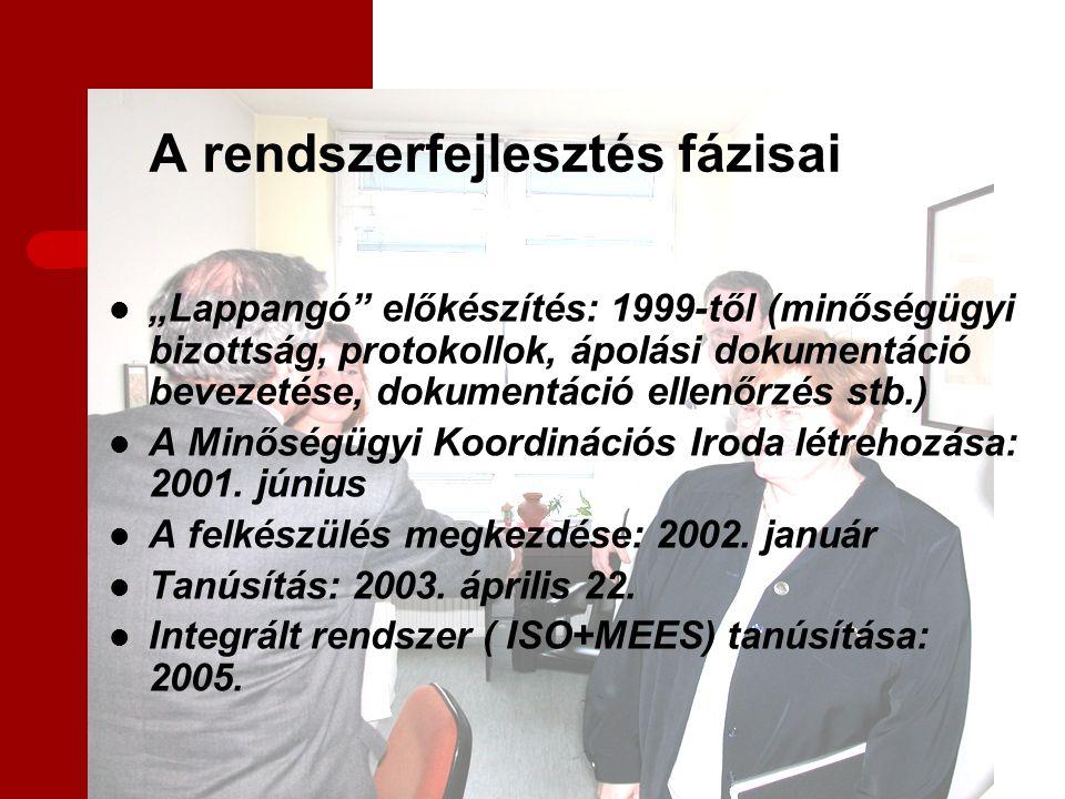 """A rendszerfejlesztés fázisai """"Lappangó előkészítés: 1999-től (minőségügyi bizottság, protokollok, ápolási dokumentáció bevezetése, dokumentáció ellenőrzés stb.) A Minőségügyi Koordinációs Iroda létrehozása: 2001."""