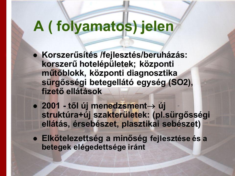 A ( folyamatos) jelen Korszerűsítés /fejlesztés/beruházás: korszerű hotelépületek; központi műtőblokk, központi diagnosztika sürgősségi betegellátó egység (SO2), fizető ellátások 2001 - től új menedzsment  új struktúra+új szakterületek: (pl.sürgősségi ellátás, érsebészet, plasztikai sebészet) Elkötelezettség a minőség fejlesztése és a betegek elégedettsége iránt
