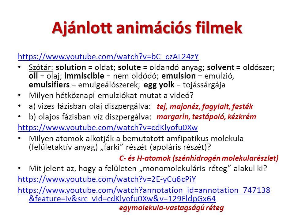 Ajánlott animációs filmek https://www.youtube.com/watch v=bC_czAL24zY Szótár: solution = oldat; solute = oldandó anyag; solvent = oldószer; oil = olaj; immiscible = nem oldódó; emulsion = emulzió, emulsifiers = emulgeálószerek; egg yolk = tojássárgája Milyen hétköznapi emulziókat mutat a videó.
