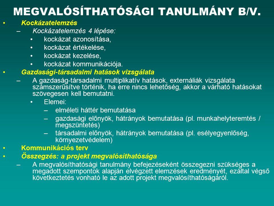 MEGVALÓSÍTHATÓSÁGI TANULMÁNY B/V.