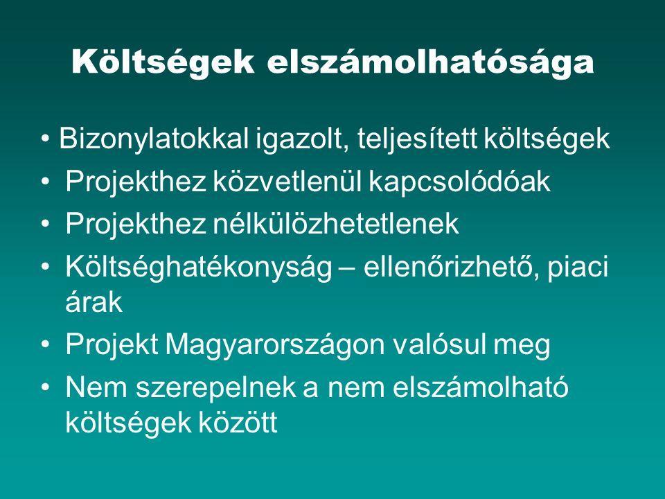 Költségek elszámolhatósága Bizonylatokkal igazolt, teljesített költségek Projekthez közvetlenül kapcsolódóak Projekthez nélkülözhetetlenek Költséghatékonyság – ellenőrizhető, piaci árak Projekt Magyarországon valósul meg Nem szerepelnek a nem elszámolható költségek között