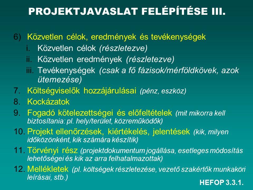 HEFOP 3.3.1. PROJEKTJAVASLAT FELÉPÍTÉSE III.