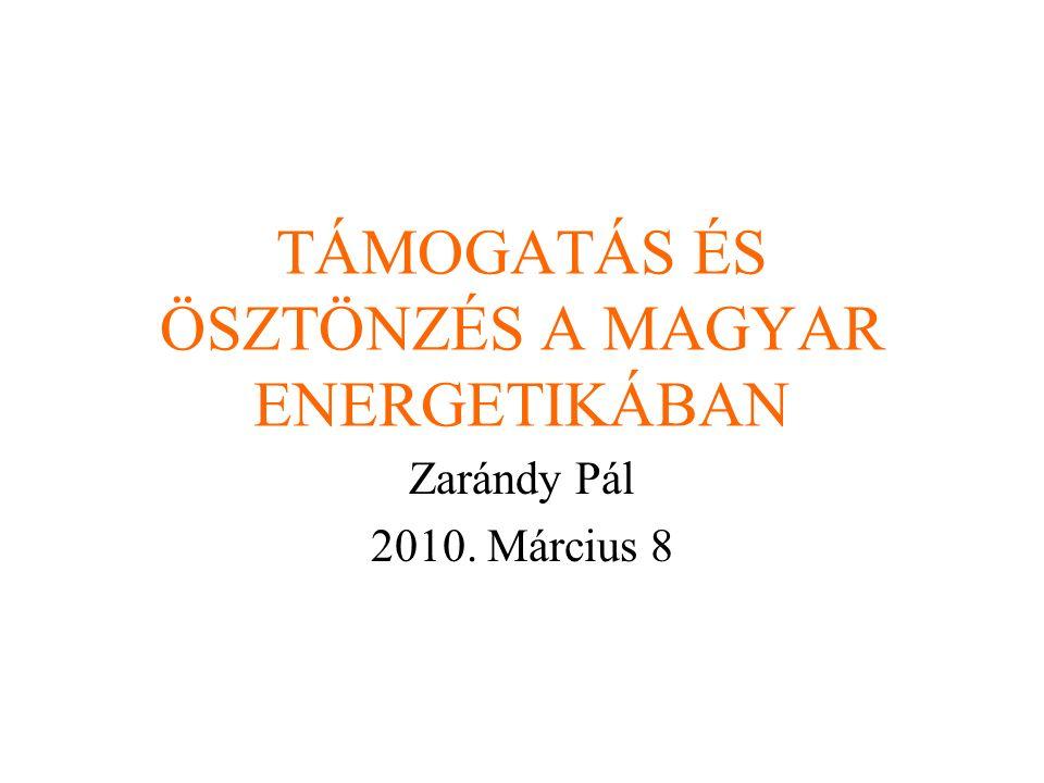 TÁMOGATÁS ÉS ÖSZTÖNZÉS A MAGYAR ENERGETIKÁBAN Zarándy Pál 2010. Március 8