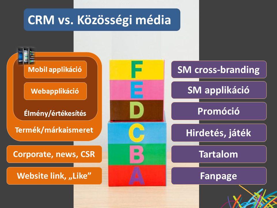 """Fanpage Website link, """"Like Tartalom Hirdetés, játék Termék/márkaismeret Élmény/értékesítés Webapplikáció SM applikáció Corporate, news, CSR SM cross-branding Promóció CRM vs."""