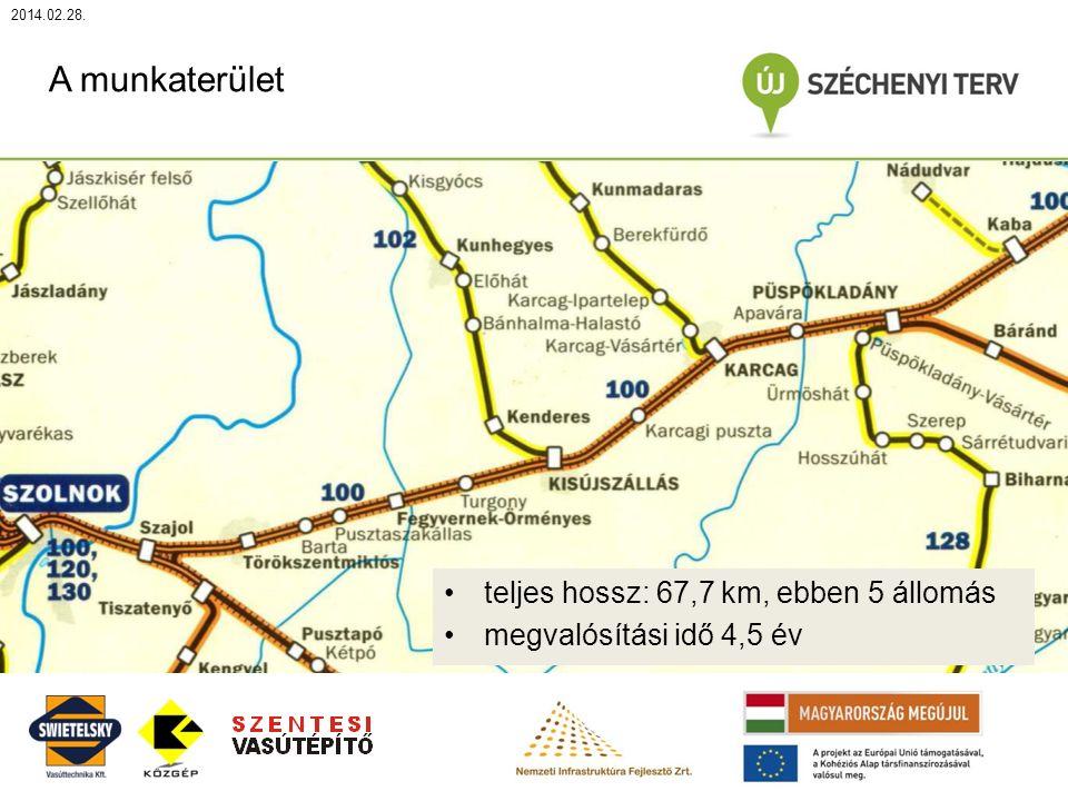 2014.02.28. A munkaterület teljes hossz: 67,7 km, ebben 5 állomás megvalósítási idő 4,5 év