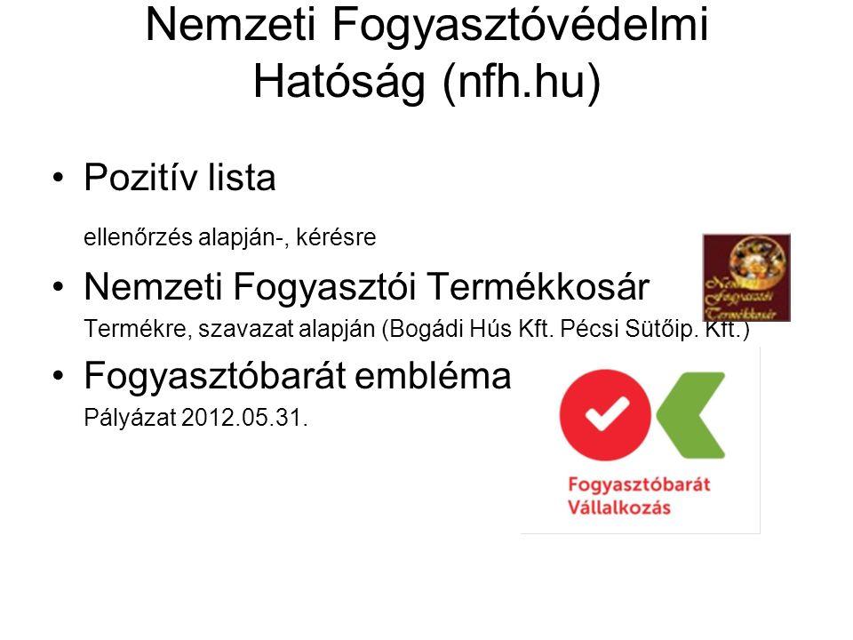 Nemzeti Fogyasztóvédelmi Hatóság (nfh.hu) Pozitív lista ellenőrzés alapján-, kérésre Nemzeti Fogyasztói Termékkosár Termékre, szavazat alapján (Bogádi