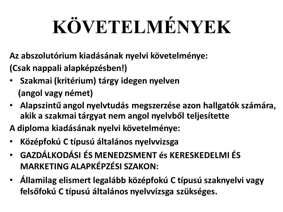 KÖVETELMÉNYEK Az abszolutórium kiadásának nyelvi követelménye: (Csak nappali alapképzésben!) Szakmai (kritérium) tárgy idegen nyelven (angol vagy néme