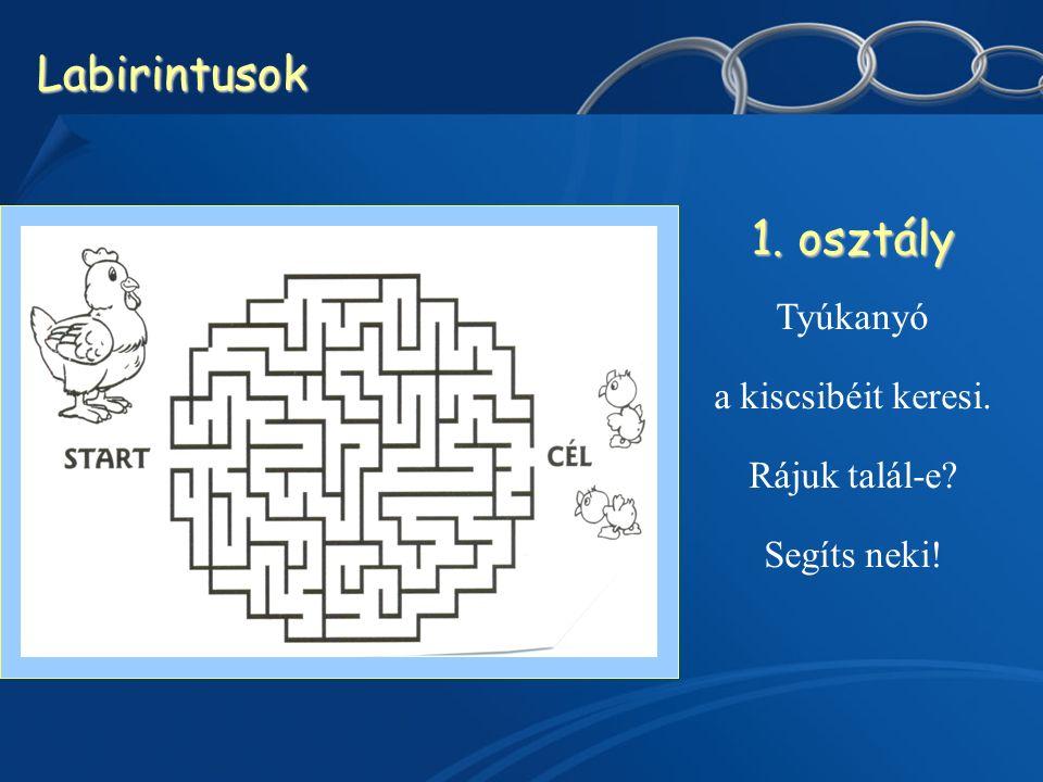 Labirintusok 1. osztály Tyúkanyó a kiscsibéit keresi. Rájuk talál-e Segíts neki!