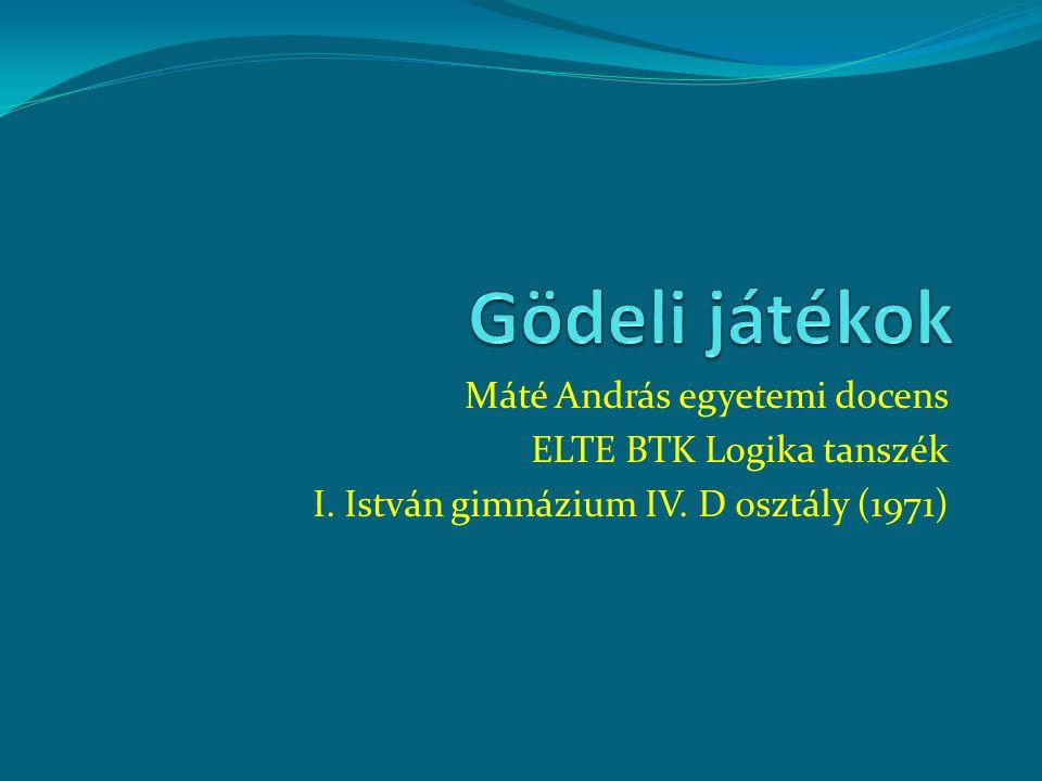 Máté András egyetemi docens ELTE BTK Logika tanszék I. István gimnázium IV. D osztály (1971)