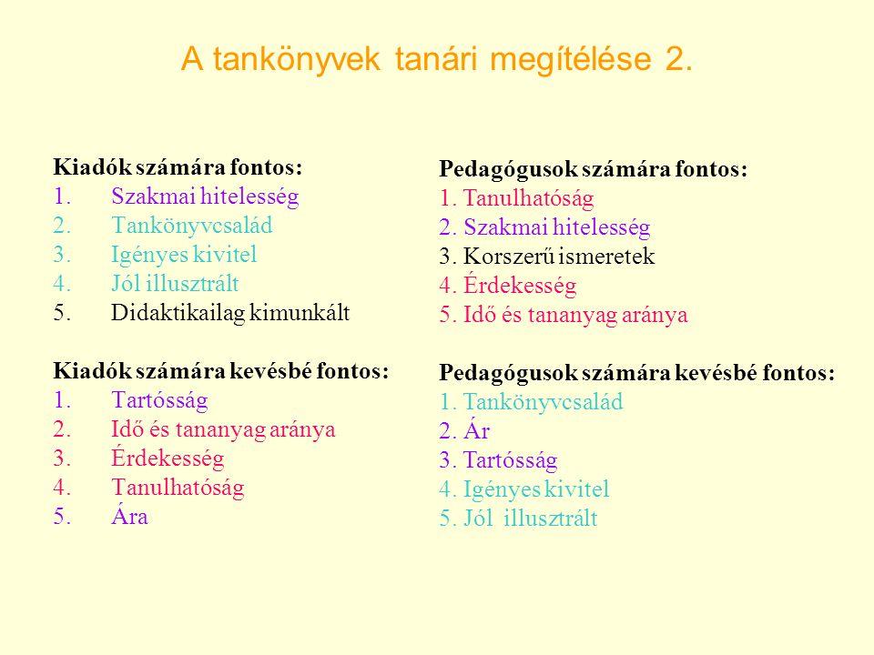A tankönyvek tanári megítélése 2.