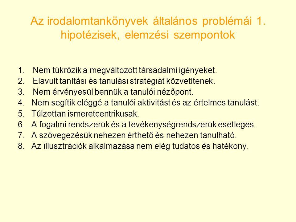 Az irodalomtankönyvek általános problémái 1. hipotézisek, elemzési szempontok 1.Nem tükrözik a megváltozott társadalmi igényeket. 2.Elavult tanítási é