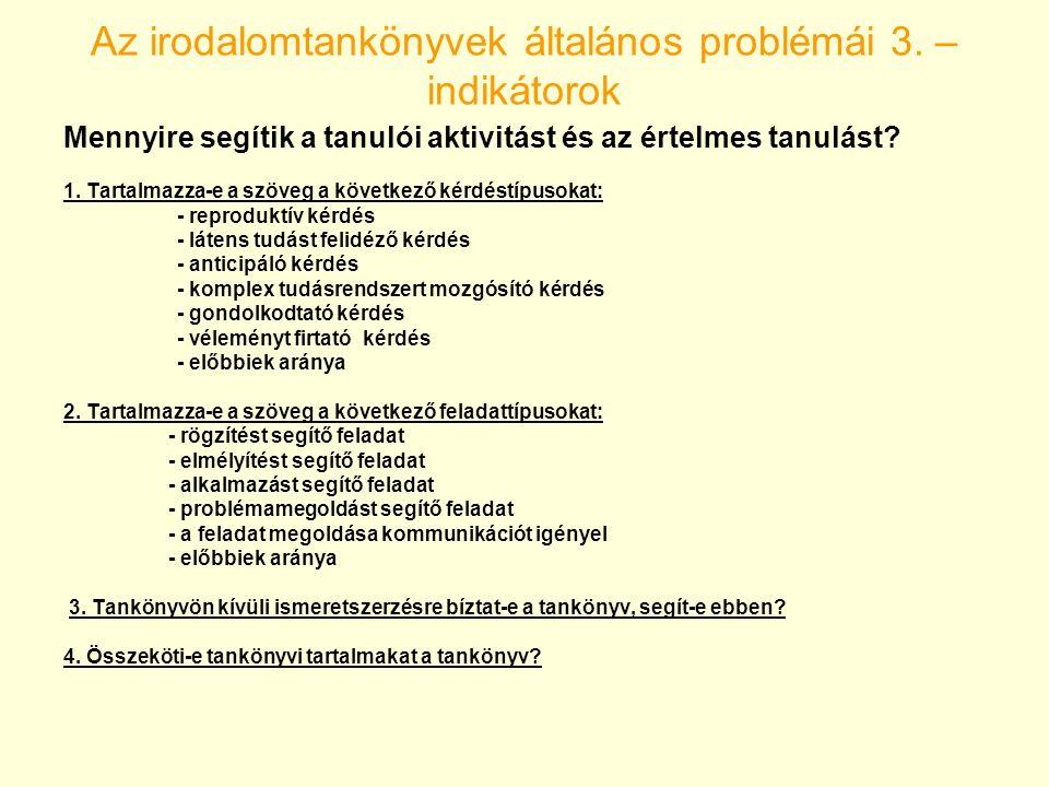 Az irodalomtankönyvek általános problémái 4.