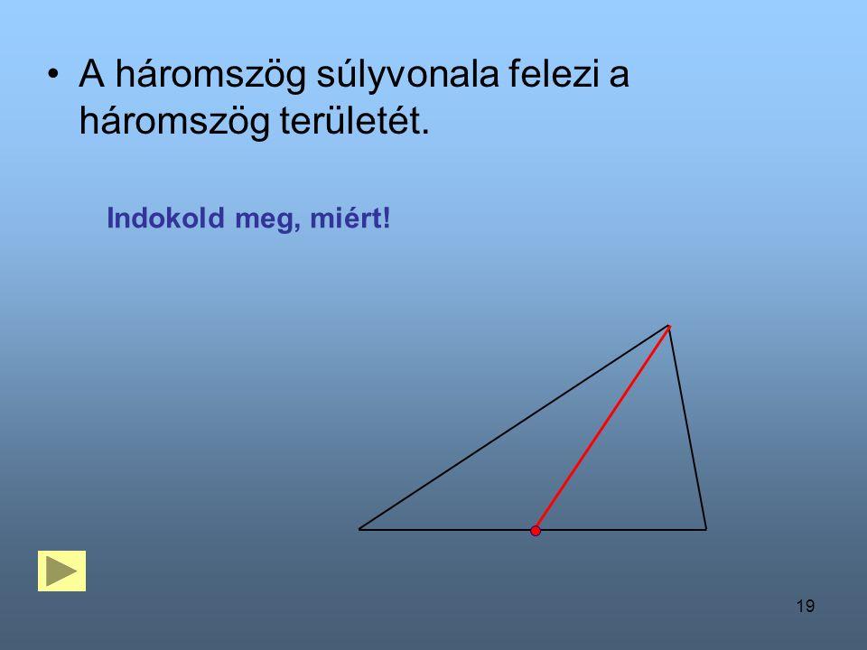 19 A háromszög súlyvonala felezi a háromszög területét. Indokold meg, miért!