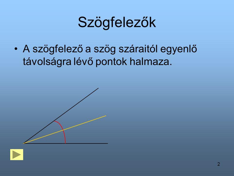 2 Szögfelezők A szögfelező a szög száraitól egyenlő távolságra lévő pontok halmaza.