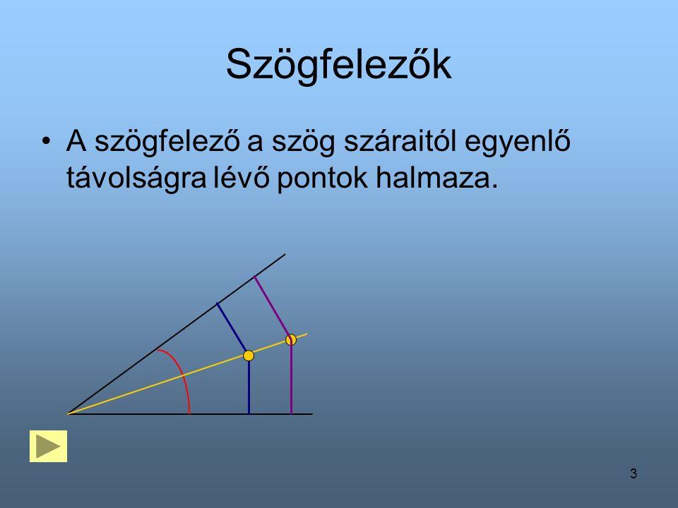 3 Szögfelezők A szögfelező a szög száraitól egyenlő távolságra lévő pontok halmaza.