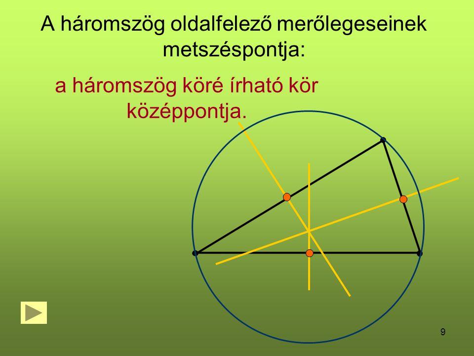 9 A háromszög oldalfelező merőlegeseinek metszéspontja: a háromszög köré írható kör középpontja.