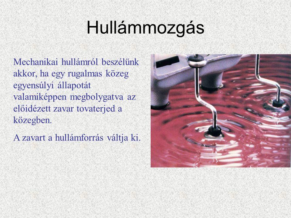 Hullámmozgás Mechanikai hullámról beszélünk akkor, ha egy rugalmas közeg egyensúlyi állapotát valamiképpen megbolygatva az előidézett zavar tovaterjed a közegben.