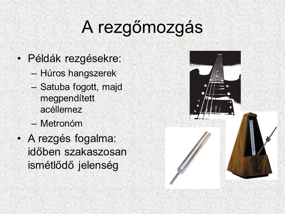 A rezgőmozgás Példák rezgésekre: –Húros hangszerek –Satuba fogott, majd megpendített acéllemez –Metronóm A rezgés fogalma: időben szakaszosan ismétlődő jelenség