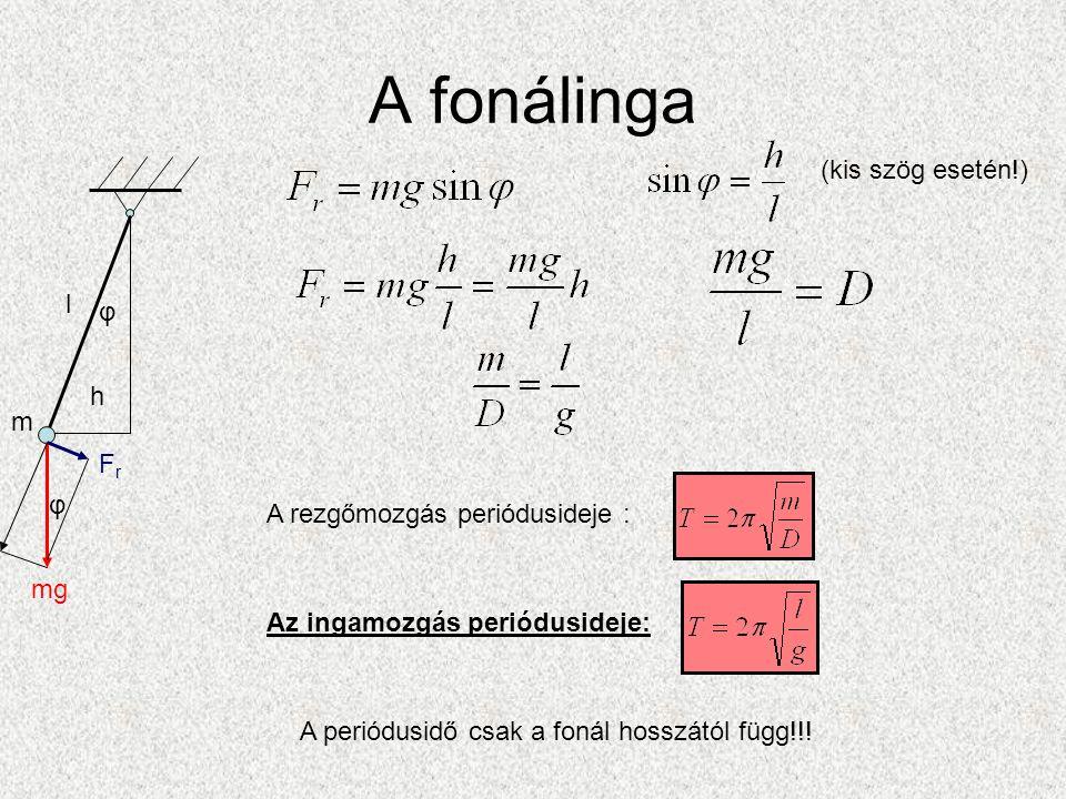 A fonálinga mg FrFr m l h φ φ A rezgőmozgás periódusideje : Az ingamozgás periódusideje: A periódusidő csak a fonál hosszától függ!!.