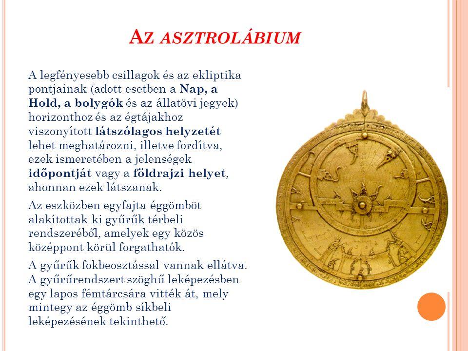A Z ASZTROLÁBIUM A legfényesebb csillagok és az ekliptika pontjainak (adott esetben a Nap, a Hold, a bolygók és az állatövi jegyek) horizonthoz és az égtájakhoz viszonyított látszólagos helyzetét lehet meghatározni, illetve fordítva, ezek ismeretében a jelenségek időpontját vagy a földrajzi helyet, ahonnan ezek látszanak.